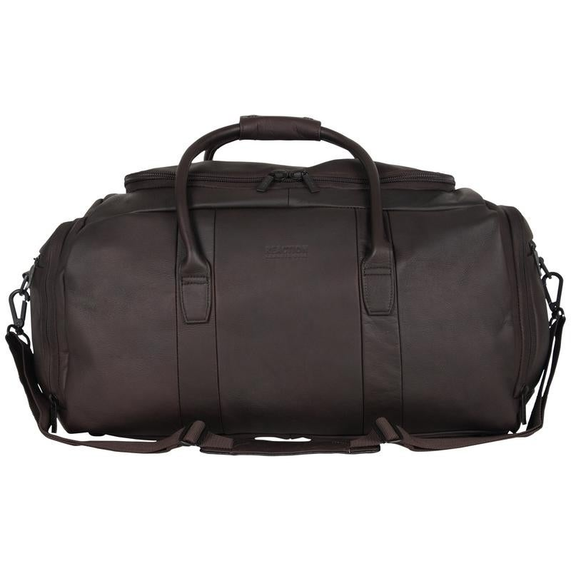 Kenneth Cole Reaction Colombian Leather 20 Inch Top Load Multi Compartment Duffel Bag Carry On Free Shipping Today