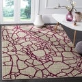 Safavieh Porcello Abstract Light Grey/ Purple Rug (5' 2 x 7' 6)