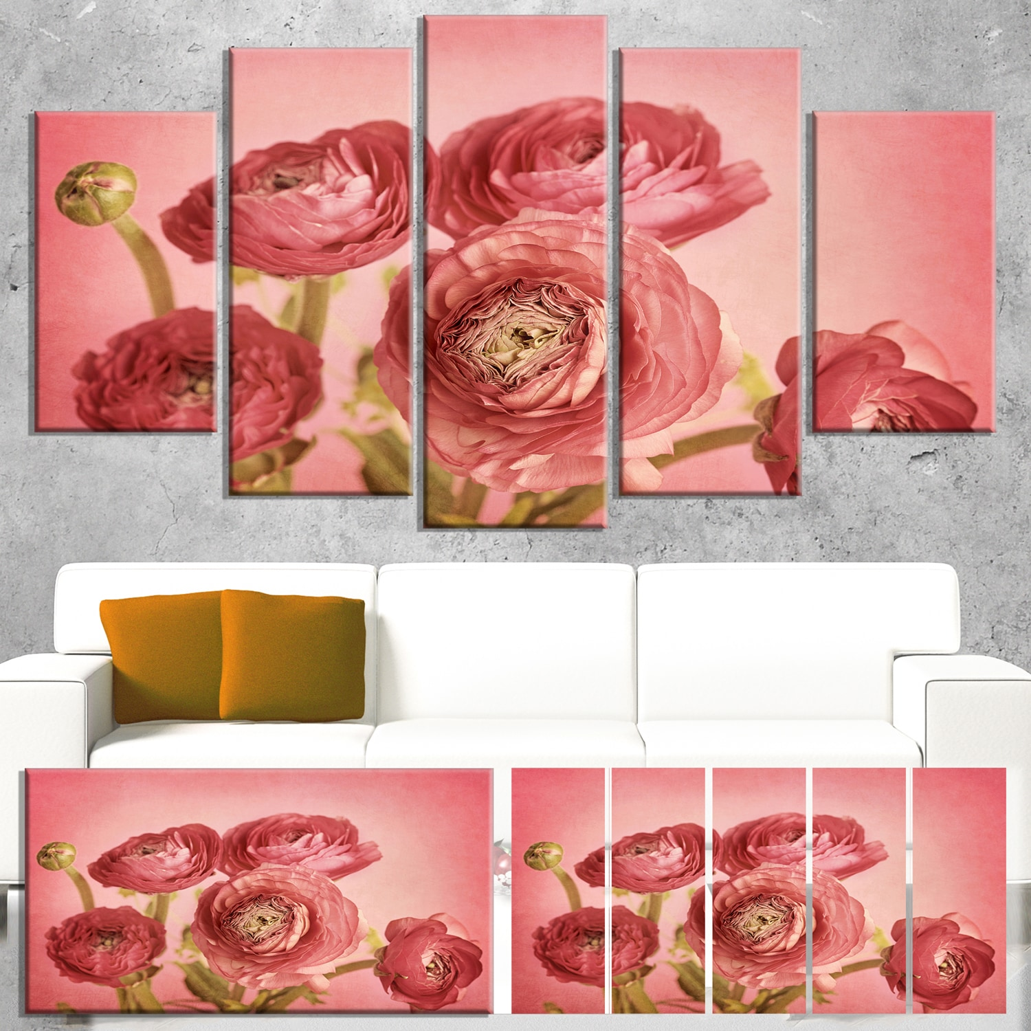 Designart Bunch Of Ranunculus Flowers On Pink Floral Canvas