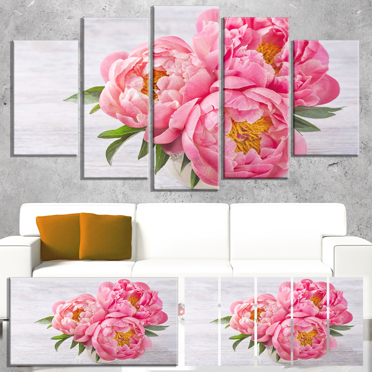 Designart Bunch Of Peony Flowers In Vase Floral Canvas Artwork