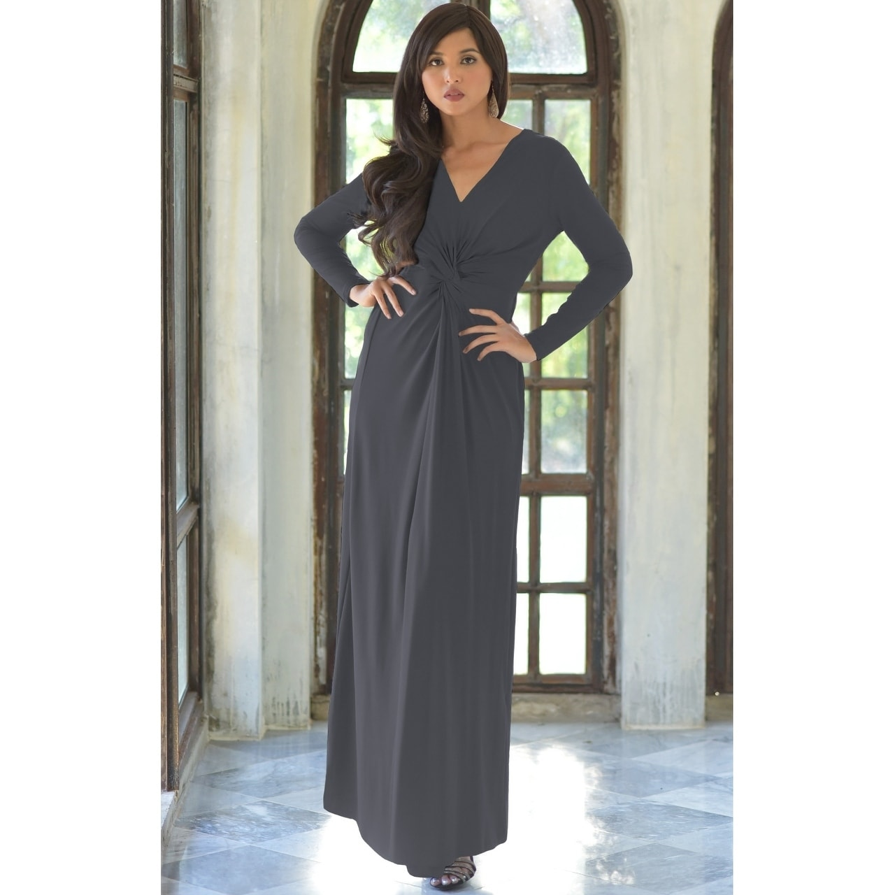 056991cd517f2a Shop KOH KOH Womens Semi Formal Flowy Fall Long Sleeve Gowns Maxi Dresses -  Ships To Canada - Overstock - 13285964