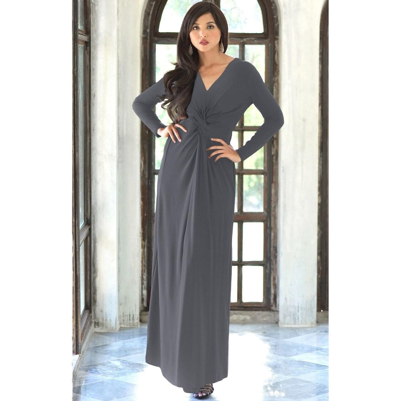 Shop KOH KOH Womens Semi Formal Flowy Fall Long Sleeve Gowns Maxi ...
