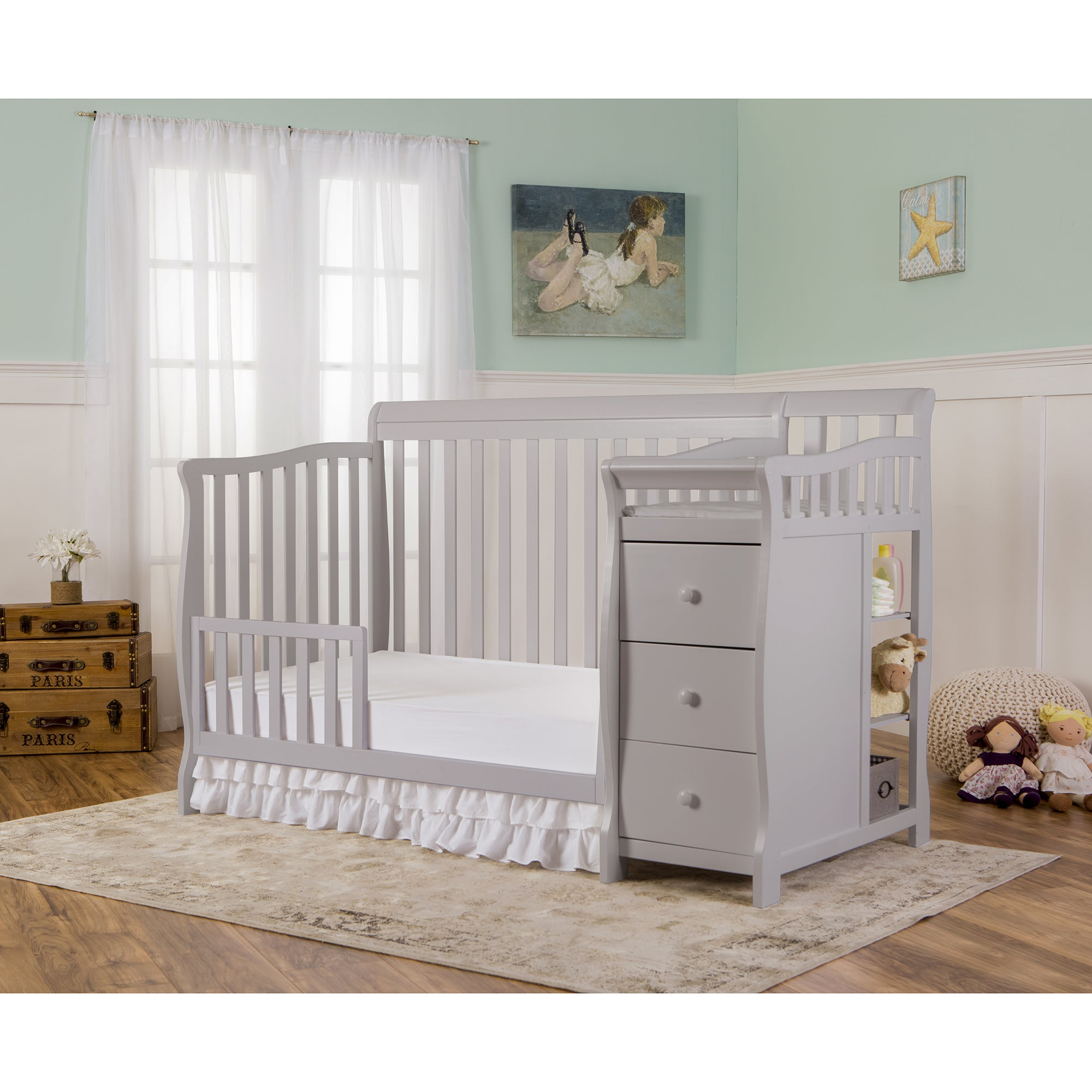 w cribs davinci drawers toddler emily raw natural rail convertible baby crib in with magnifier