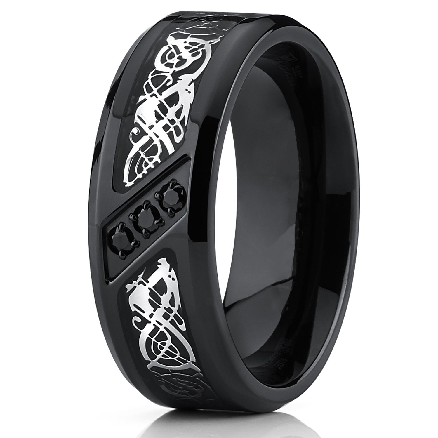wedding us black solitaire tungsten amazon half jewelry dp unisex ring carbon fiber rings whole com sizes blue inlay