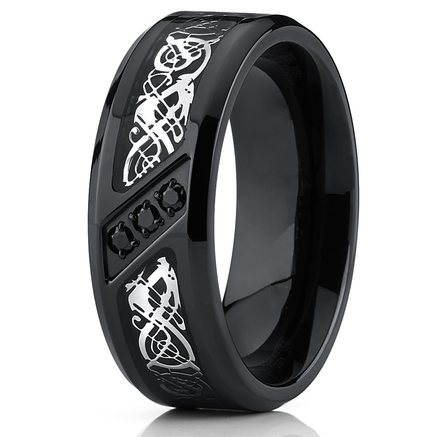 rings of pin set titanium fiber carbon unique bands modern two black resistant water and hypoallergenic wedding