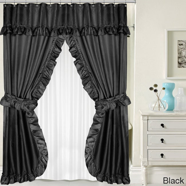 Shop Double Swag 5 Piece Liner, Tie Back, And Shower Curtain Set   Free  Shipping On Orders Over $45   Overstock.com   13287495
