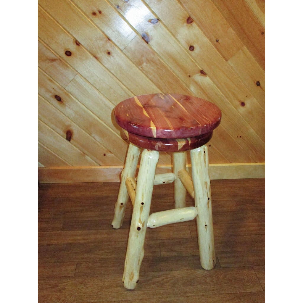 Shop red cedar log bar stool with swivel seat free shipping today overstock com 13287867