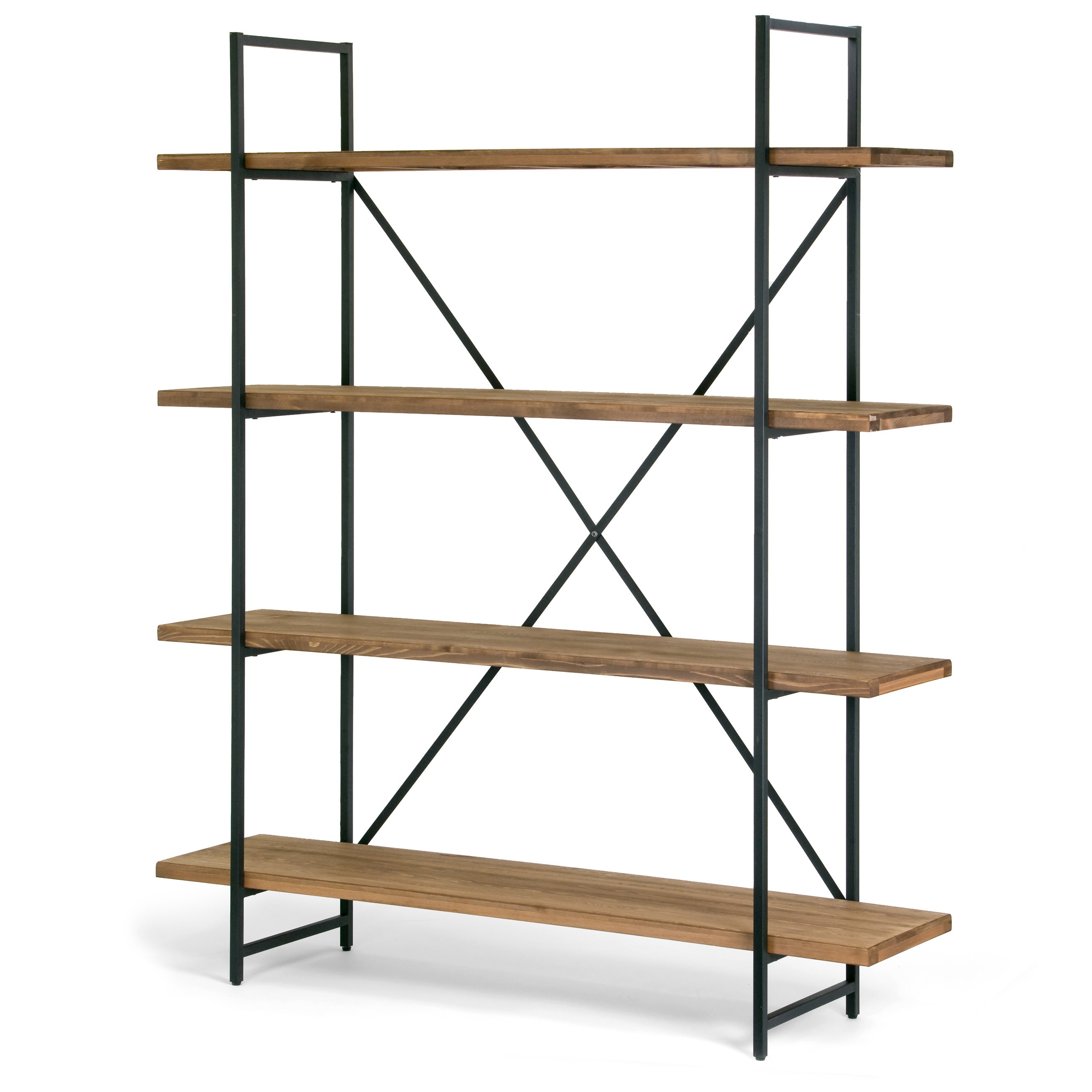 Shop ailis brown wood and metal 75 inch 4 shelf etagere bookcase free shipping today overstock com 13288403