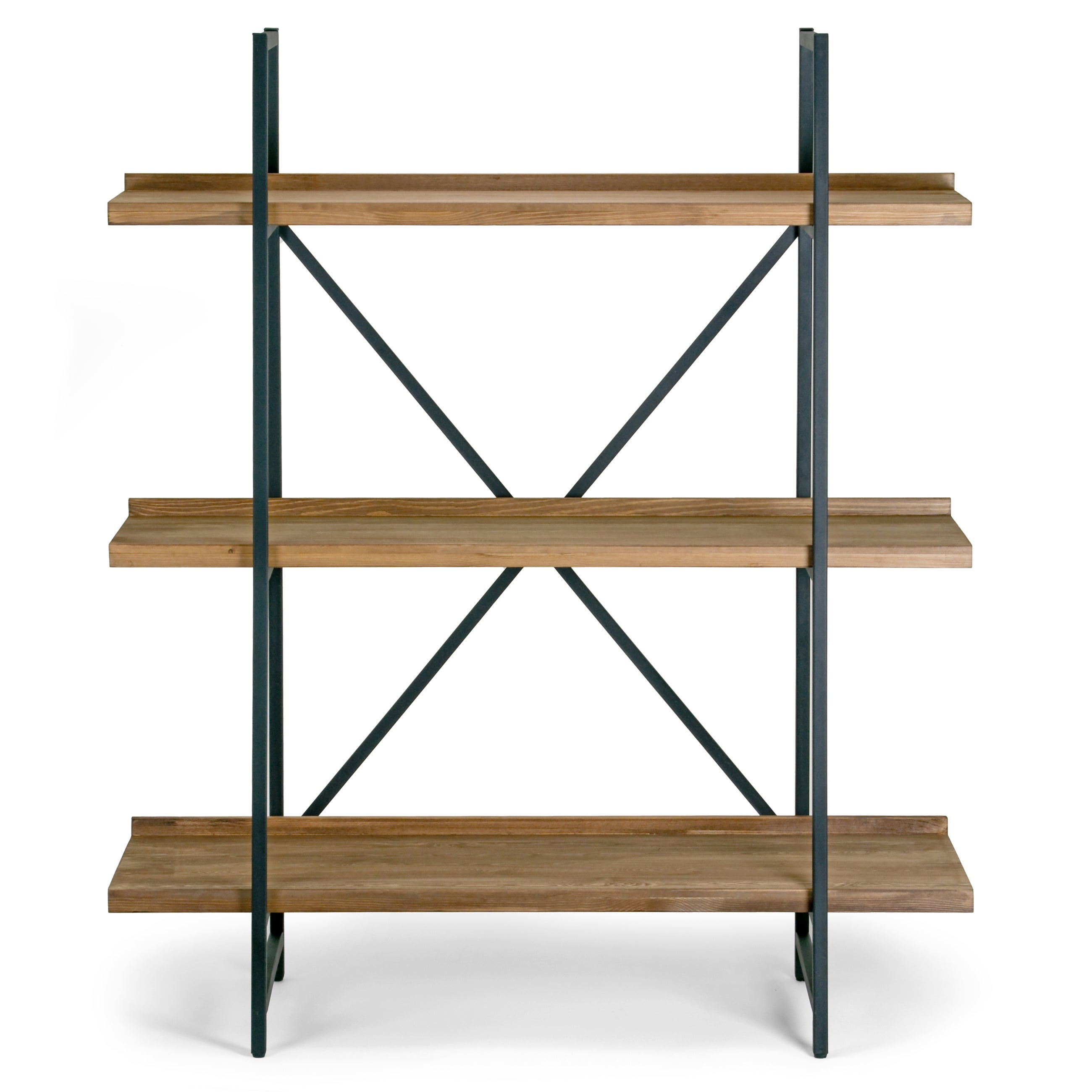 6213449cda6d9 Shop Ailis Brown Pine Wood Metal Frame 56-inch Etagere Bookcase Three-shelf  Media Center - Free Shipping Today - Overstock - 13288404
