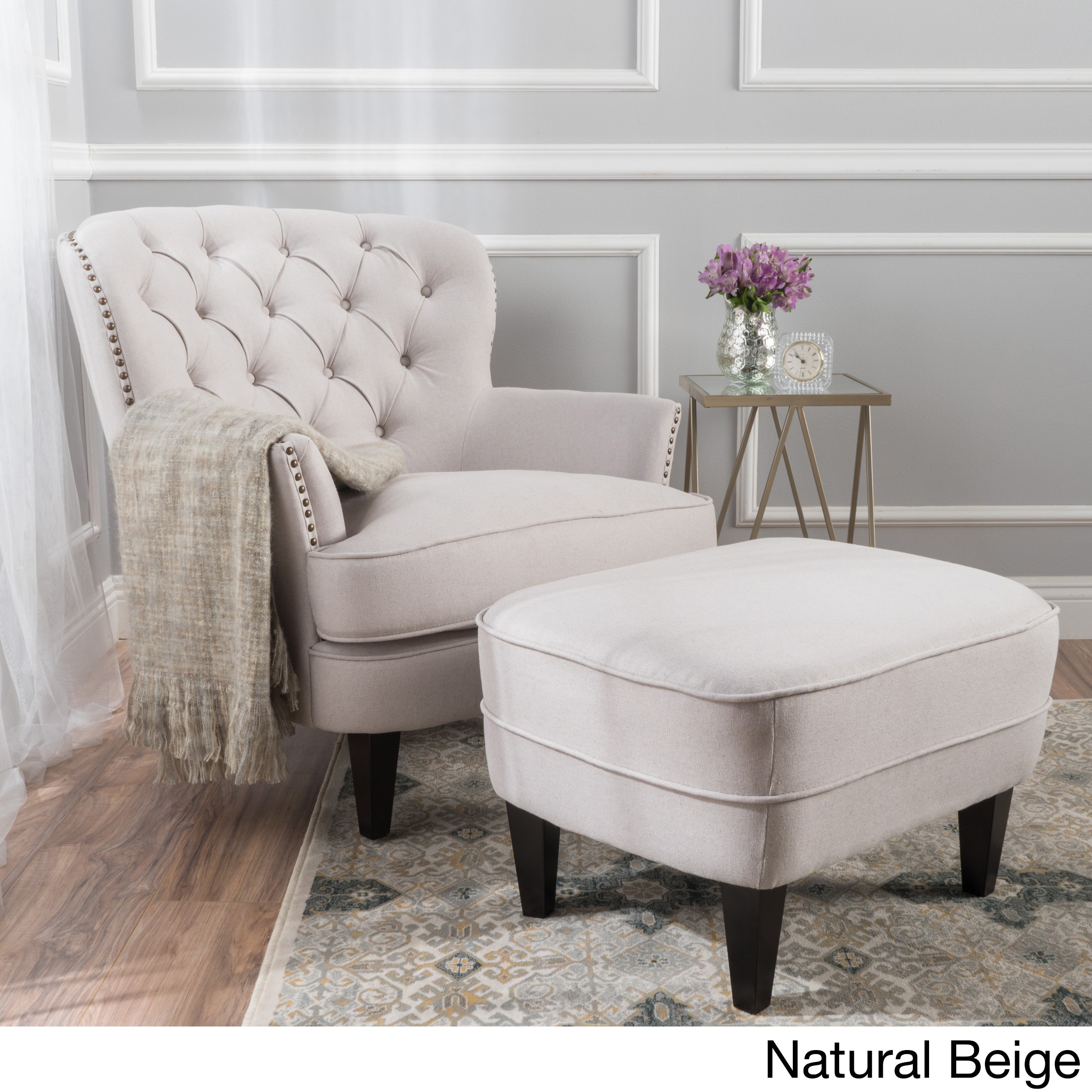Shop tafton tufted fabric club chair with ottoman by christopher knight home on sale free shipping today overstock com 13288524