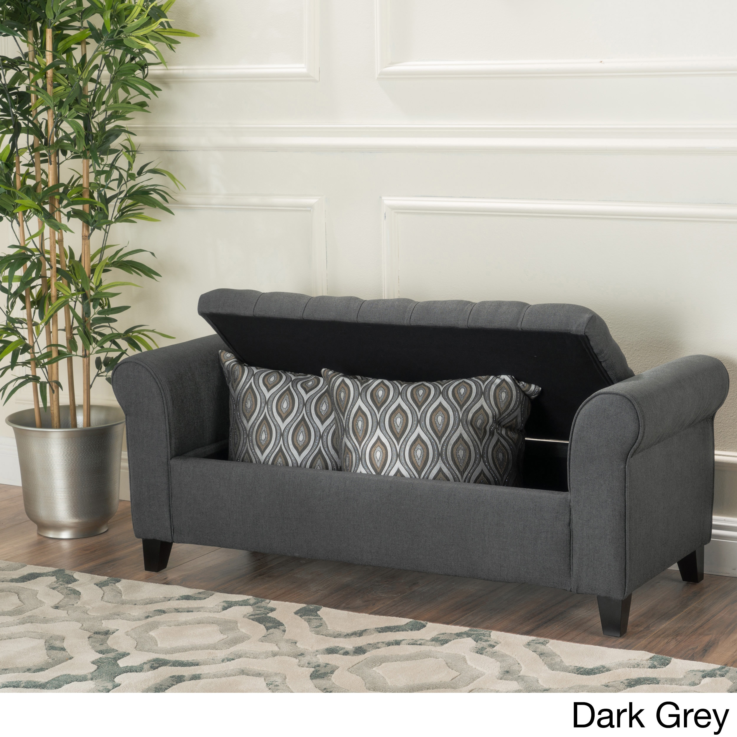Shop Keiko Tufted Fabric Armed Storage Ottoman Bench By Christopher Knight  Home   On Sale   Free Shipping Today   Overstock.com   13288536