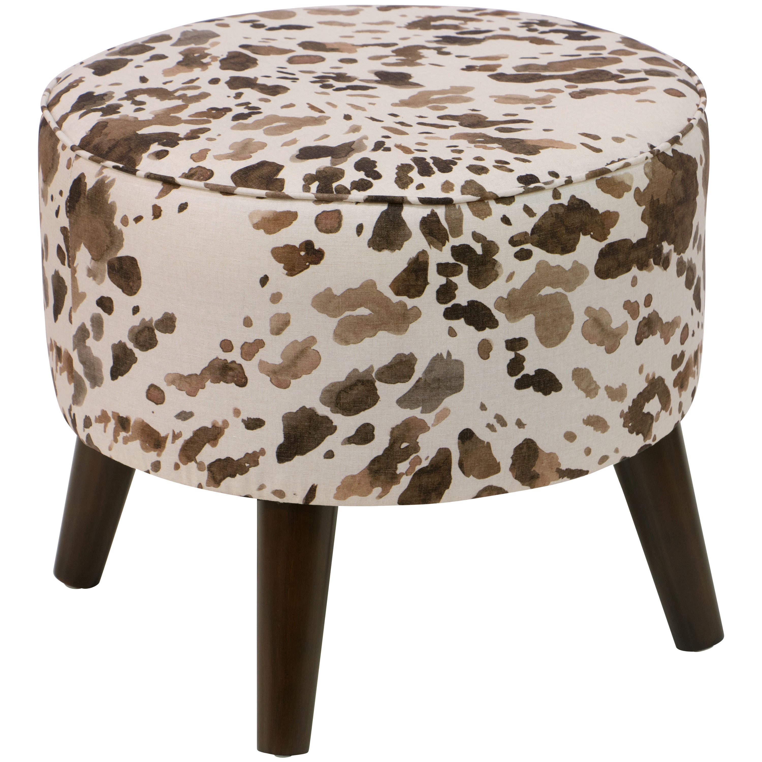 Shop Skyline Furniture Brown Cowhide Print Fabric Ottoman   On Sale   Free  Shipping Today   Overstock.com   13291520
