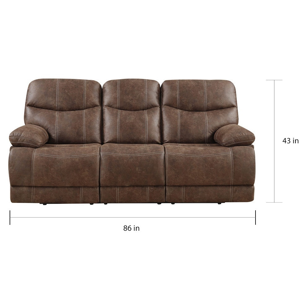 Emerald Sanded Brown Microfiber Dual Reclining Sofa On Free Shipping Today 13291891