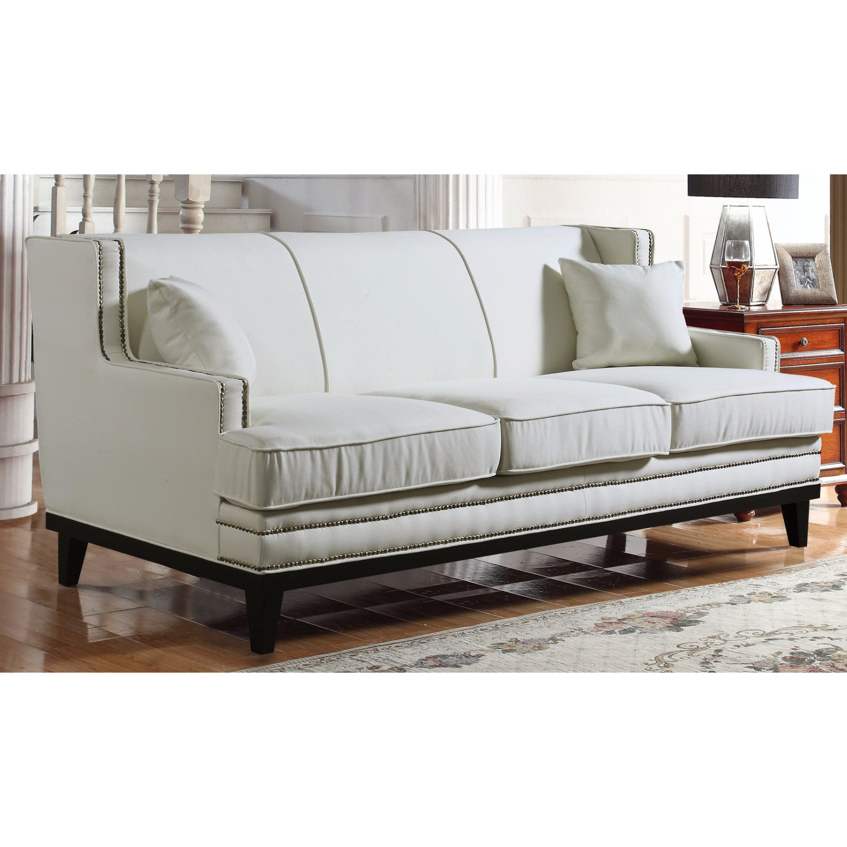 Shop Modern Soft Linen Fabric Sofa With Nailhead Trim Details   Free  Shipping Today   Overstock.com   13292322