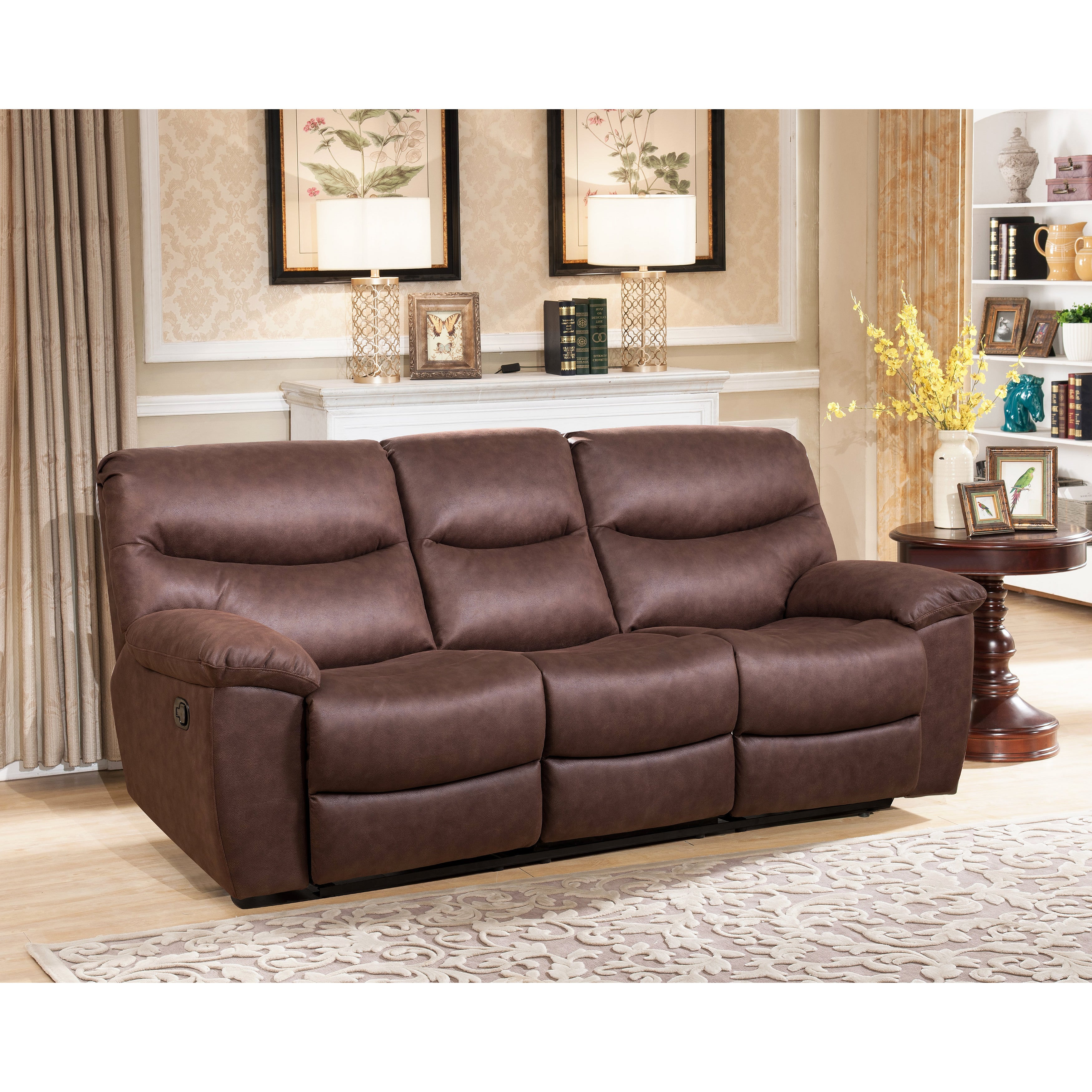 Abbyson Tyler Fabric Reclining Sofa With Drop Down Console Free  ~ Rooms To Go Reclining Sofa