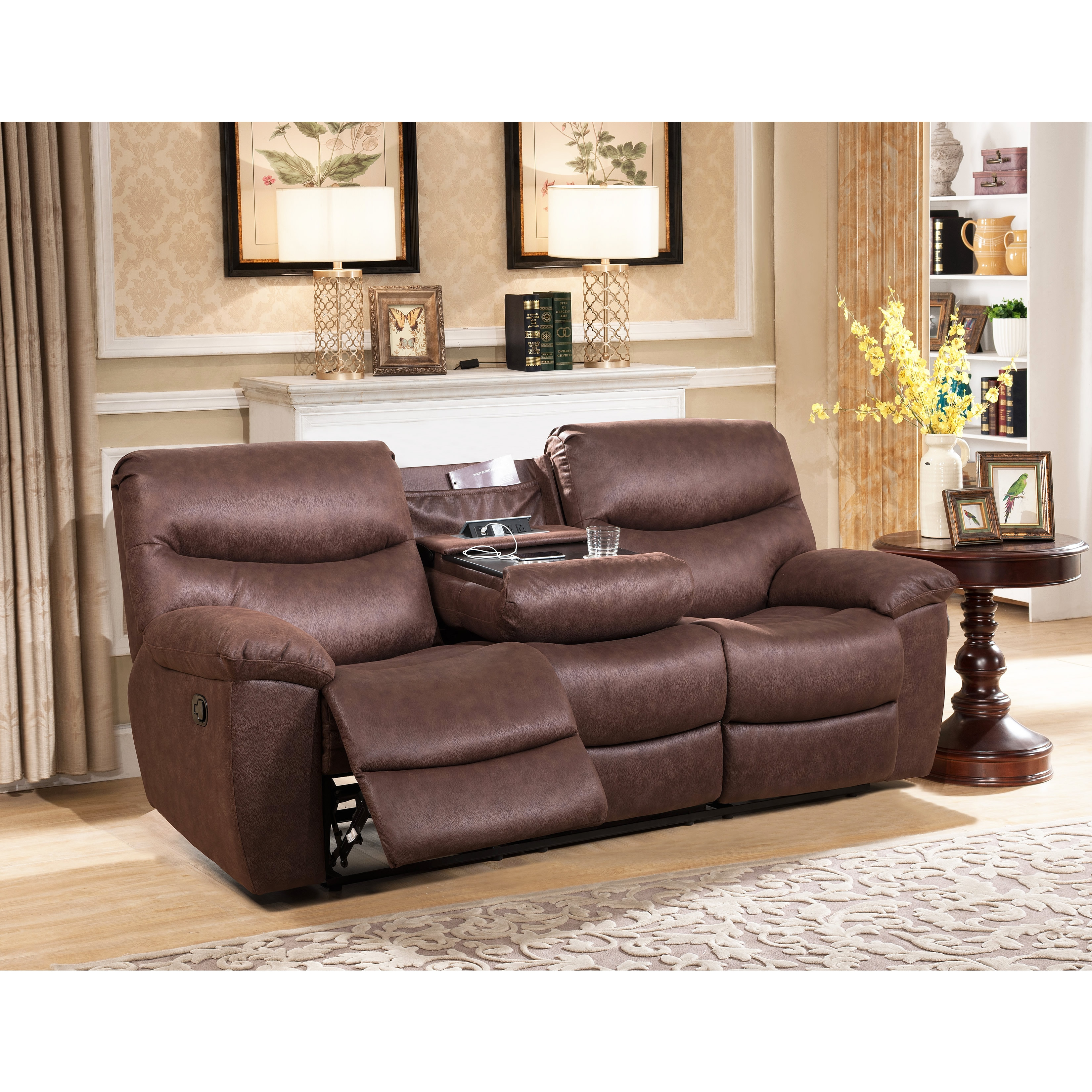 Abbyson Tyler Fabric Reclining Sofa With Drop Down Console Free  ~ Individual Recliner Sofa