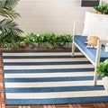 Safavieh Courtyard Contemporary Indoor/Outdoor Navy/ Beige Rug (8' x 10')
