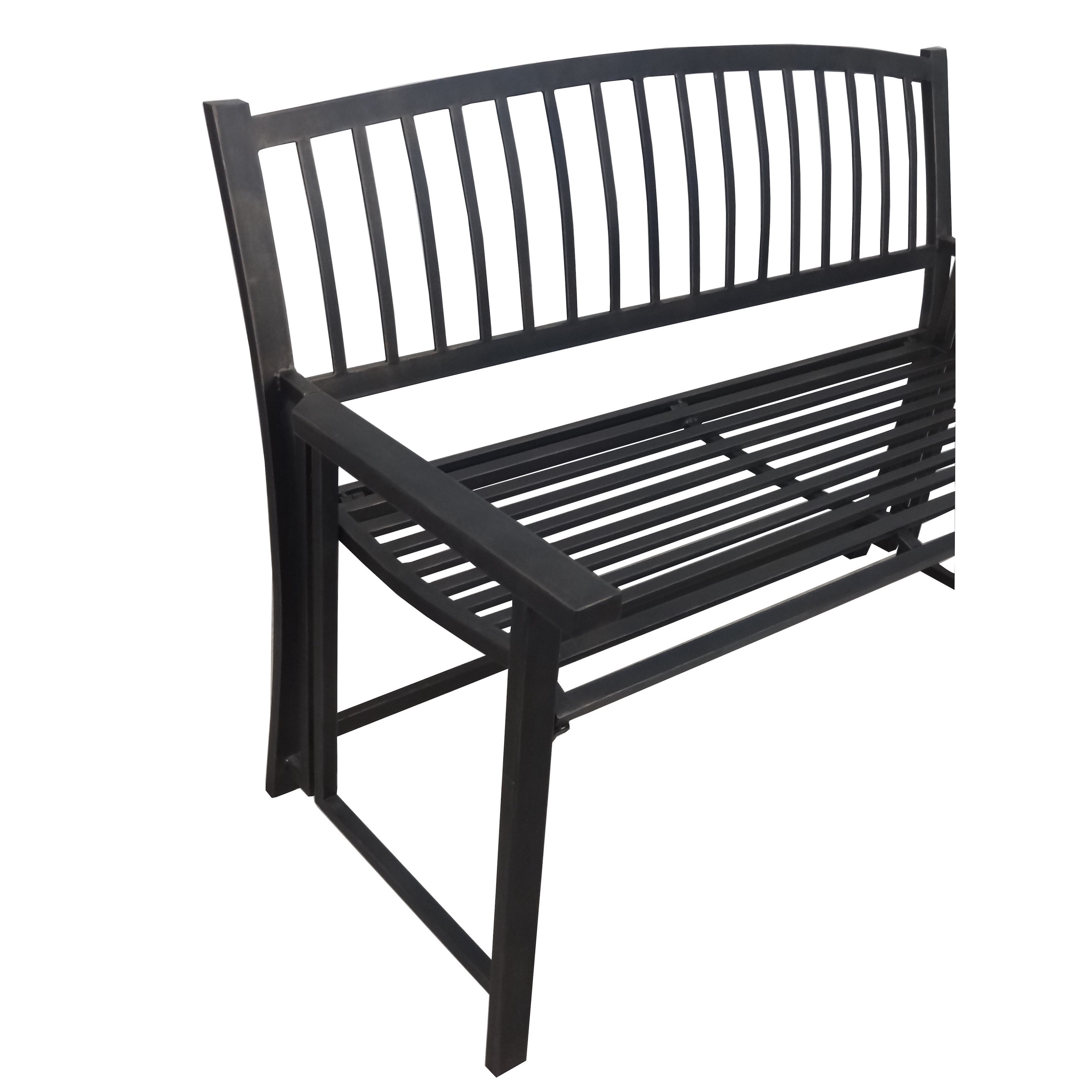 Crawford U0026 Burke Nolin Black Metal Folding Outdoor Patio Bench   Free  Shipping Today   Overstock   20006454