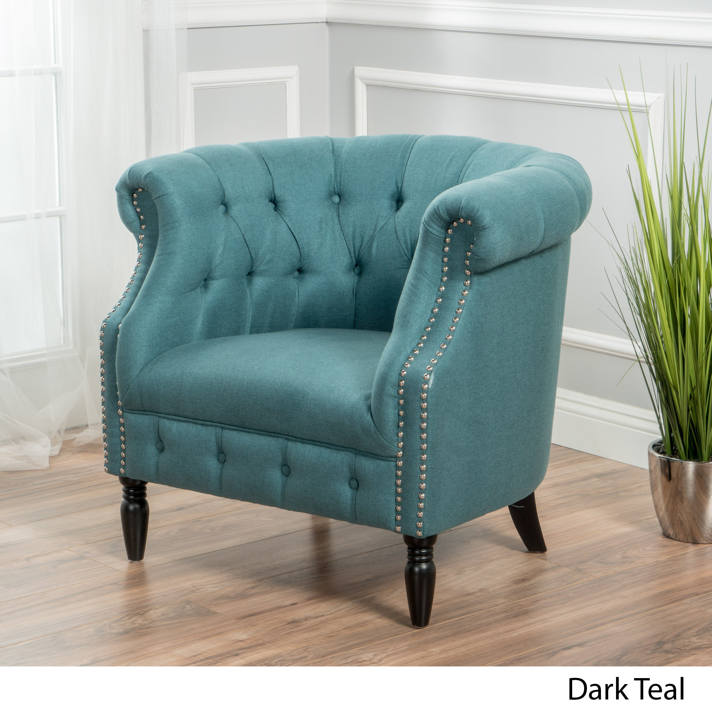 Akira Tufted Fabric Club Chair By Christopher Knight Home   Free Shipping  Today   Overstock   20008395