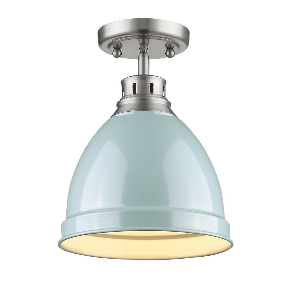 Shop Golden Lighting Duncan Pewter Steel Flush-mount Light Fixture ...