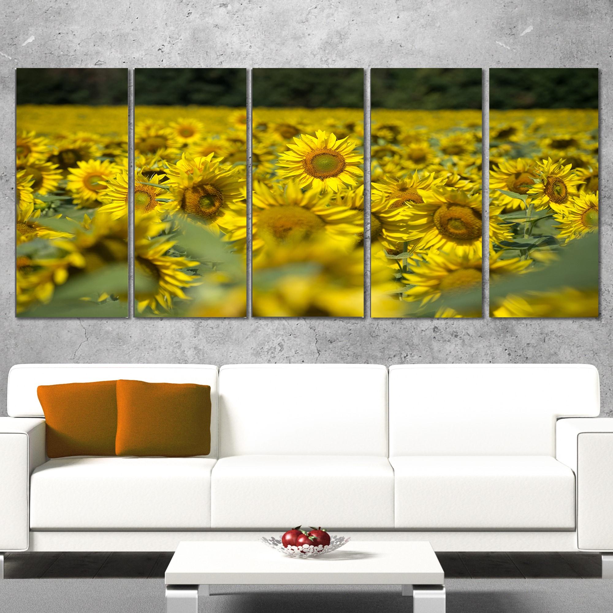 Designart \'Bright Yellow Sunflowers Field\' Modern Floral Wall ...