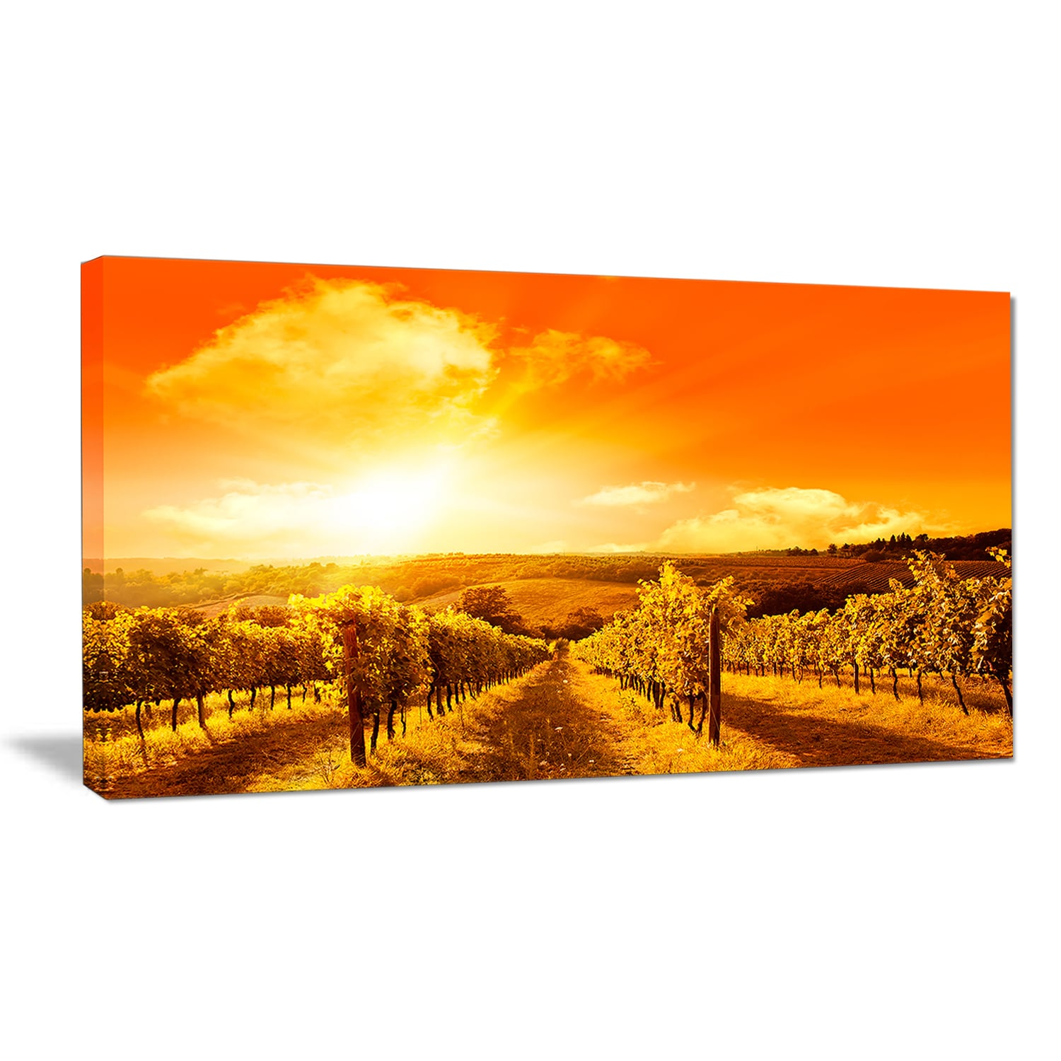 Shop Designart \'Scenic Sunset Road in Italy\' Landscape Wall Art ...