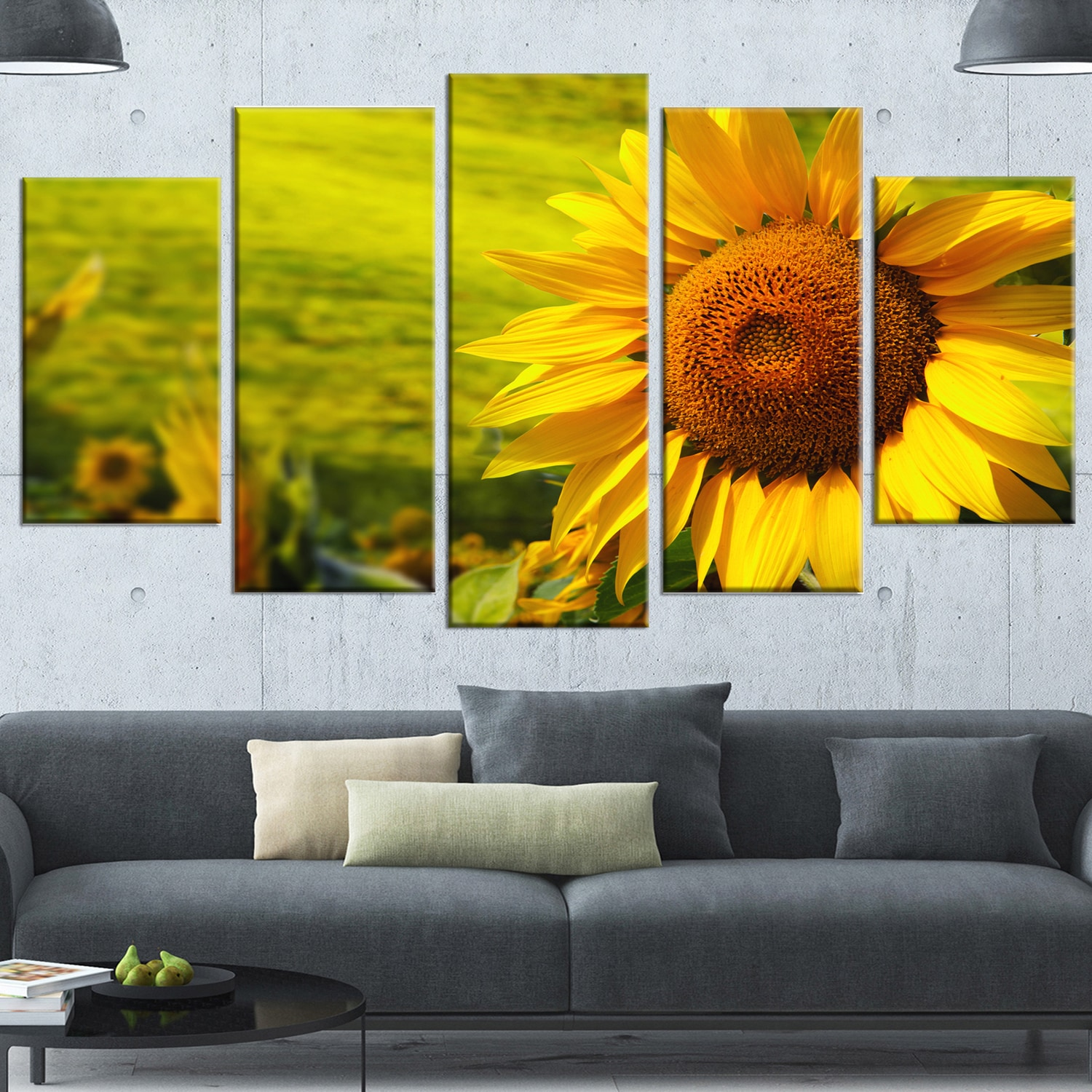 Shop Designart \'Tuscany Sunflowers on Green\' Modern Floral Wall ...