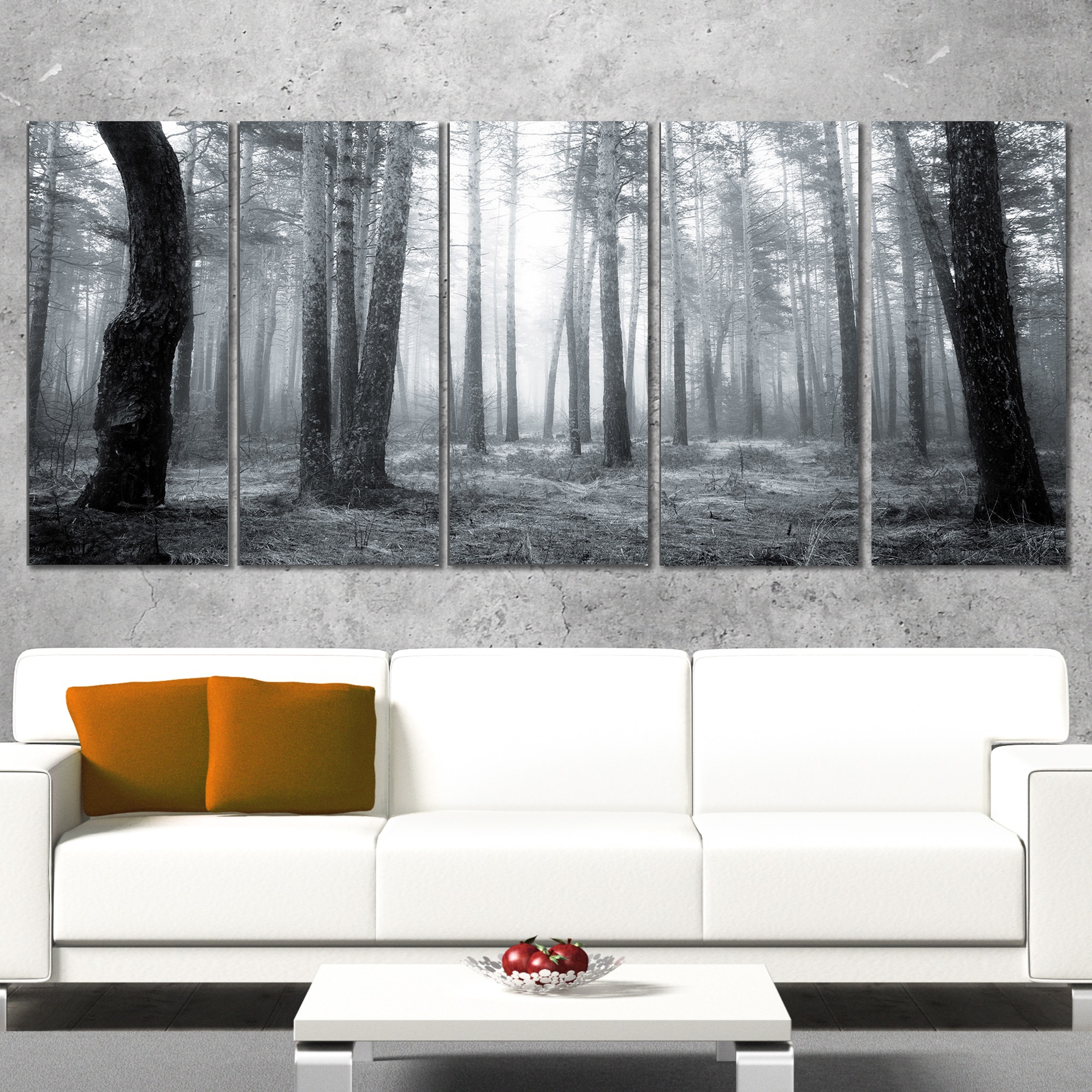 Designart \'Black and White Foggy Forest\' Modern Forest Canvas Wall ...