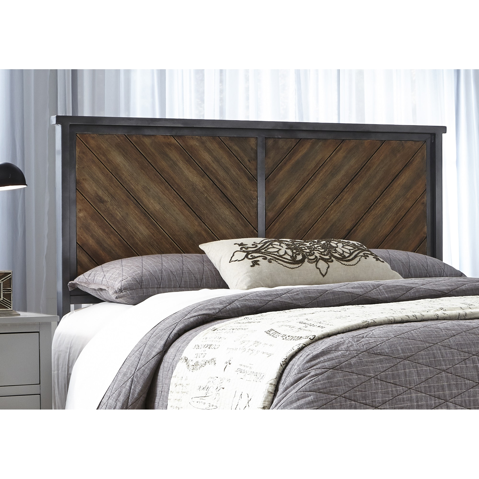 Shop Braden Metal Headboard Panel with Reclaimed Wood Design Printed ...