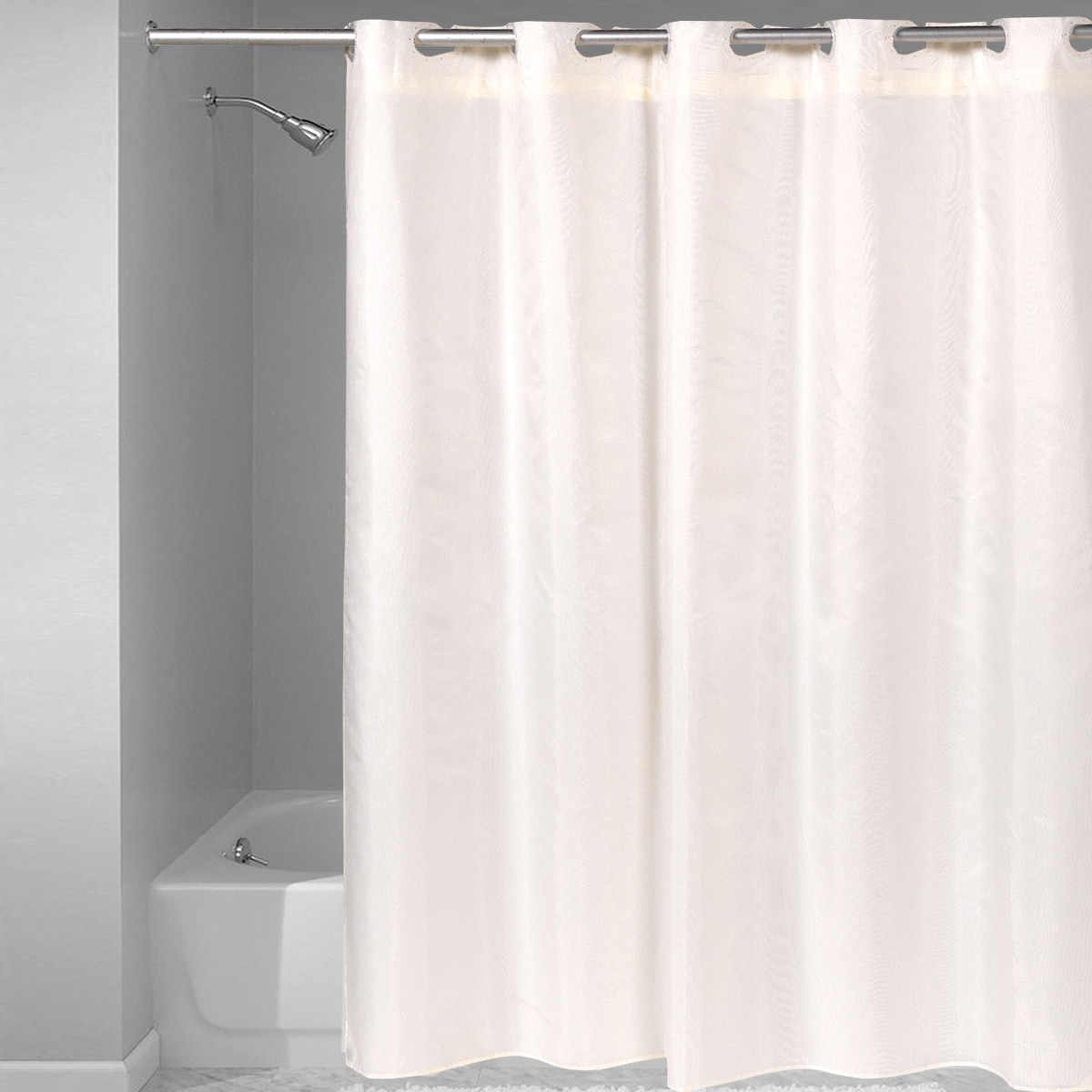 Hookless Fabric Solid Color Shower Curtain With Snap Off Liner ...