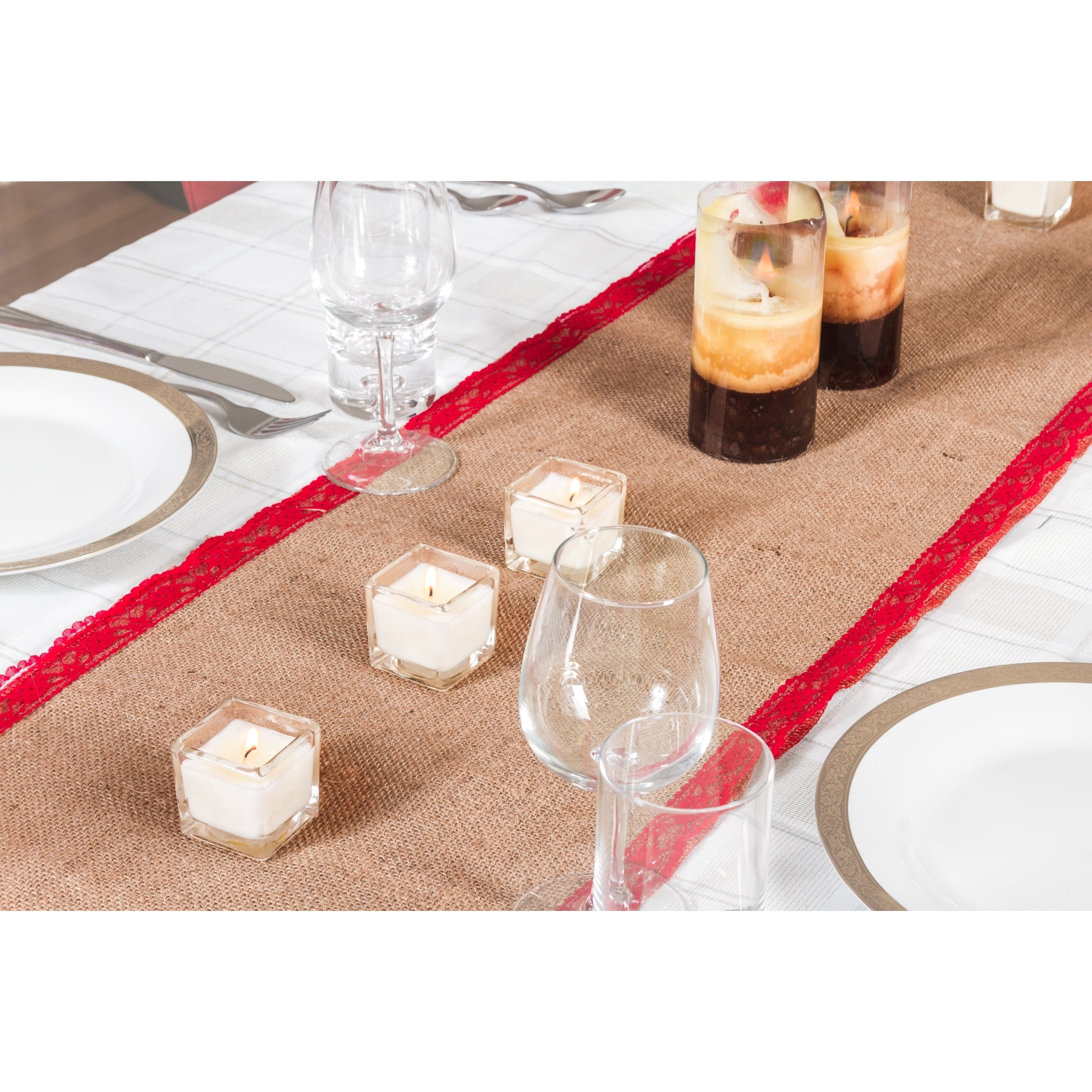 Shop Xmas Table Linens Red Burlap 70 Inch Christmas Table Runner
