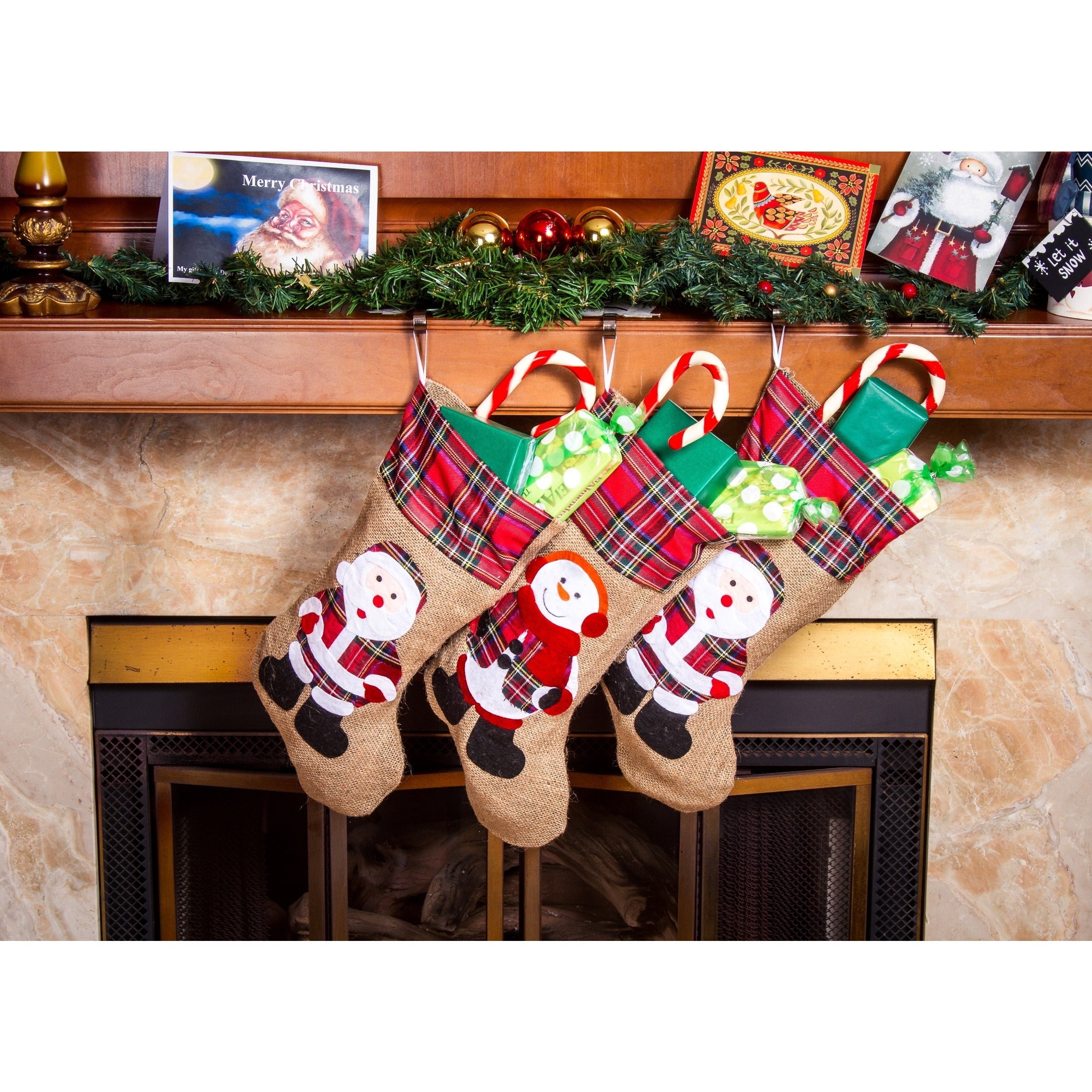 Shop rustic christmas stockings 19 inch santa claus burlap xmas stockings 3 pack free shipping on orders over 45 overstock com 13312042