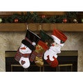 Santa Claus and Friends Xmas Icon Multicolor Polyester 18-inch Christmas Stockings (Pack of 3)