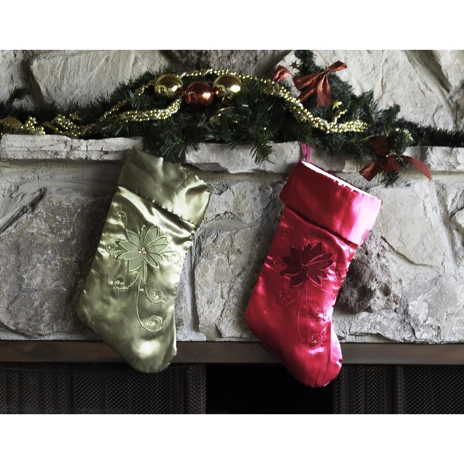 Red And Green 19 Inch Embroidered Christmas Stockings (Set Of 2)