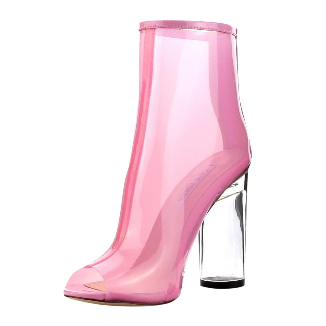 bc122a00ee0 Shop CAPE ROBBIN FF66 Women s Peep Toe Block Clear Lucite Heel Ankle Booties  - Free Shipping Today - Overstock - 13312422