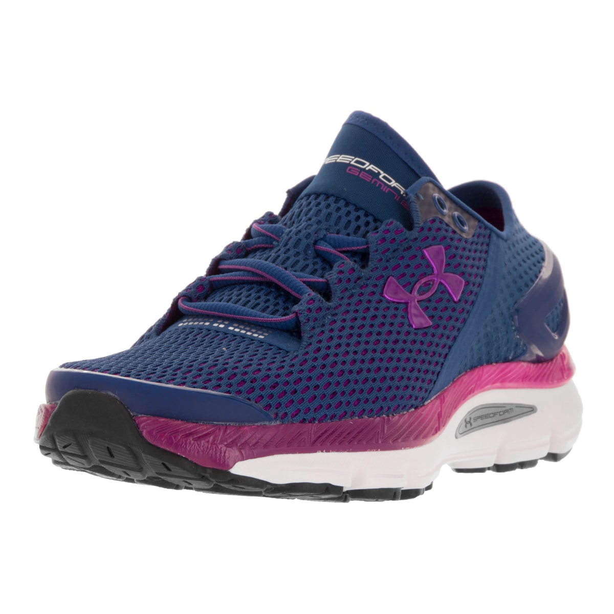 best sneakers 12626 4827c Under Armour Women's UA W Speedform Gemini 2.1 Purple and White Synthetic  Running Shoes