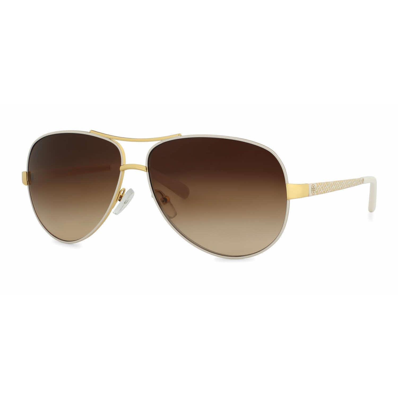 fea2c7717267d Shop Tory Burch Women TY6035 301913 White Metal Cateye Sunglasses ...