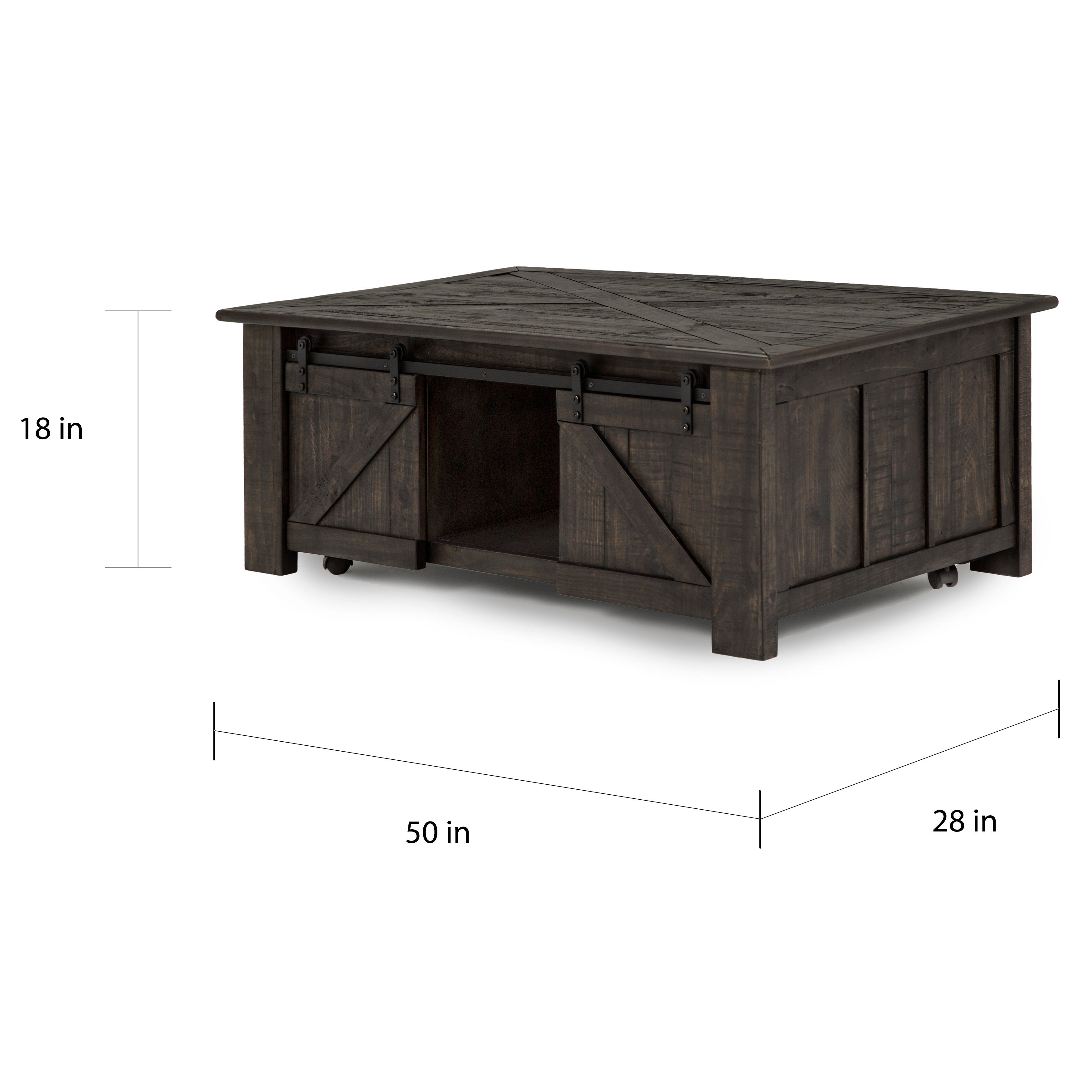 Coffee Table With Sliding Top Storage.Garrett Rustic Weathered Charcoal Lift Top Sliding Door Coffee Table With Casters