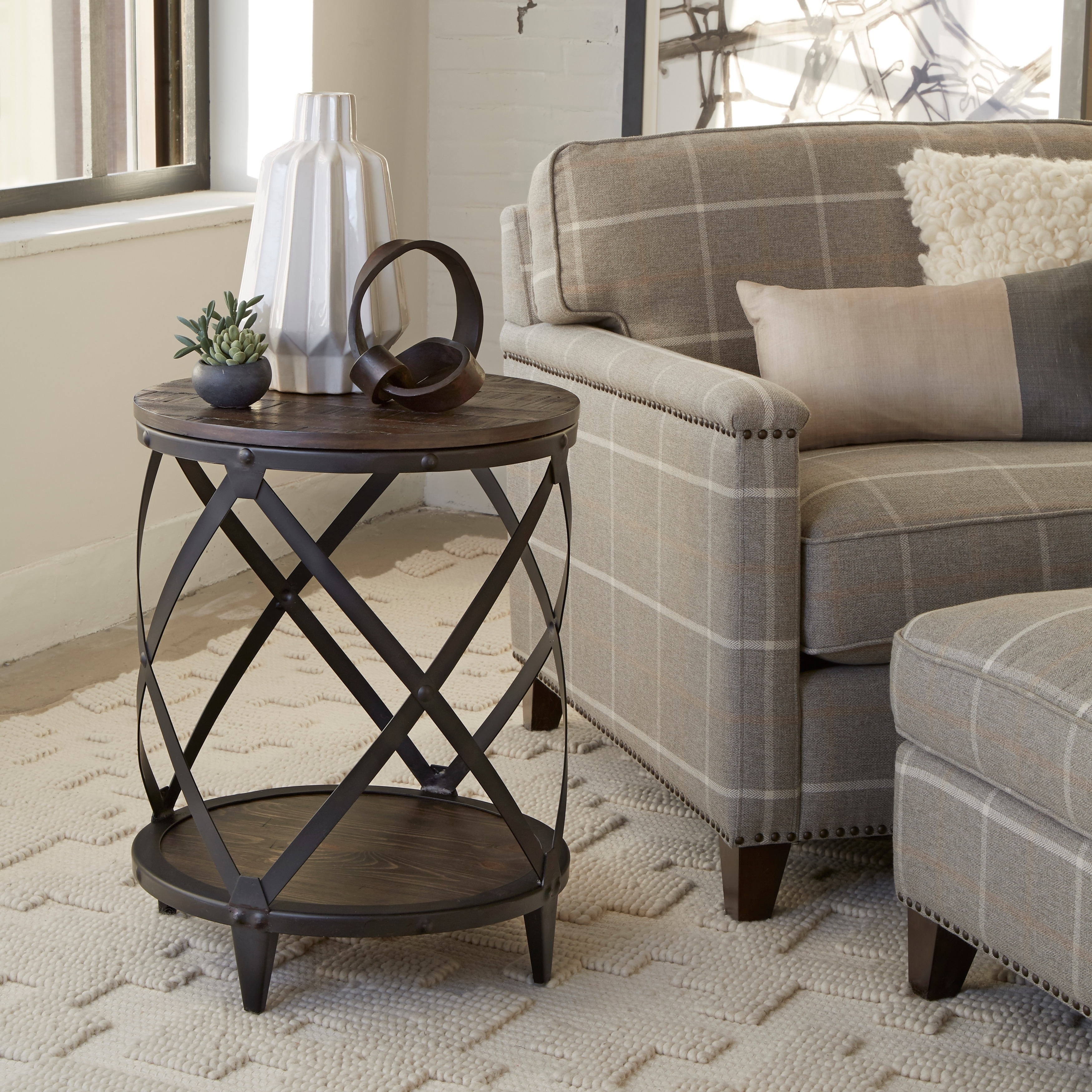 Shop milford industrial weathered charcoal wood and metal accent table on sale free shipping today overstock com 13321548