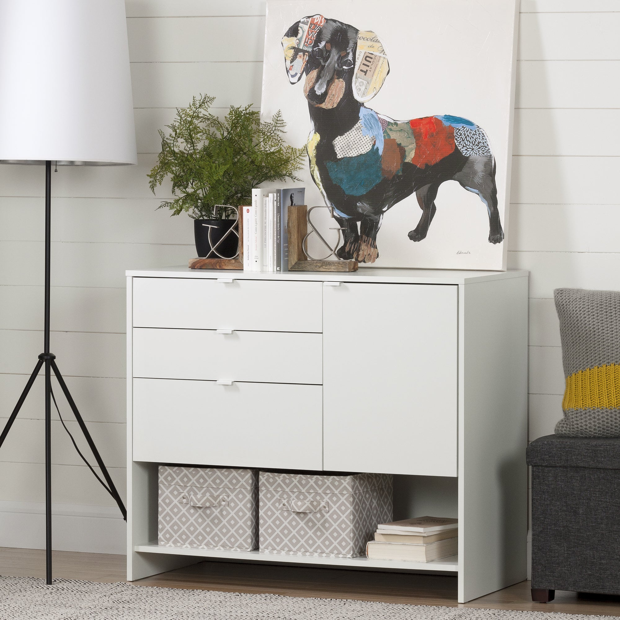 South Shore Crea Pure White Wood Craft Storage Cabinet With Drawers