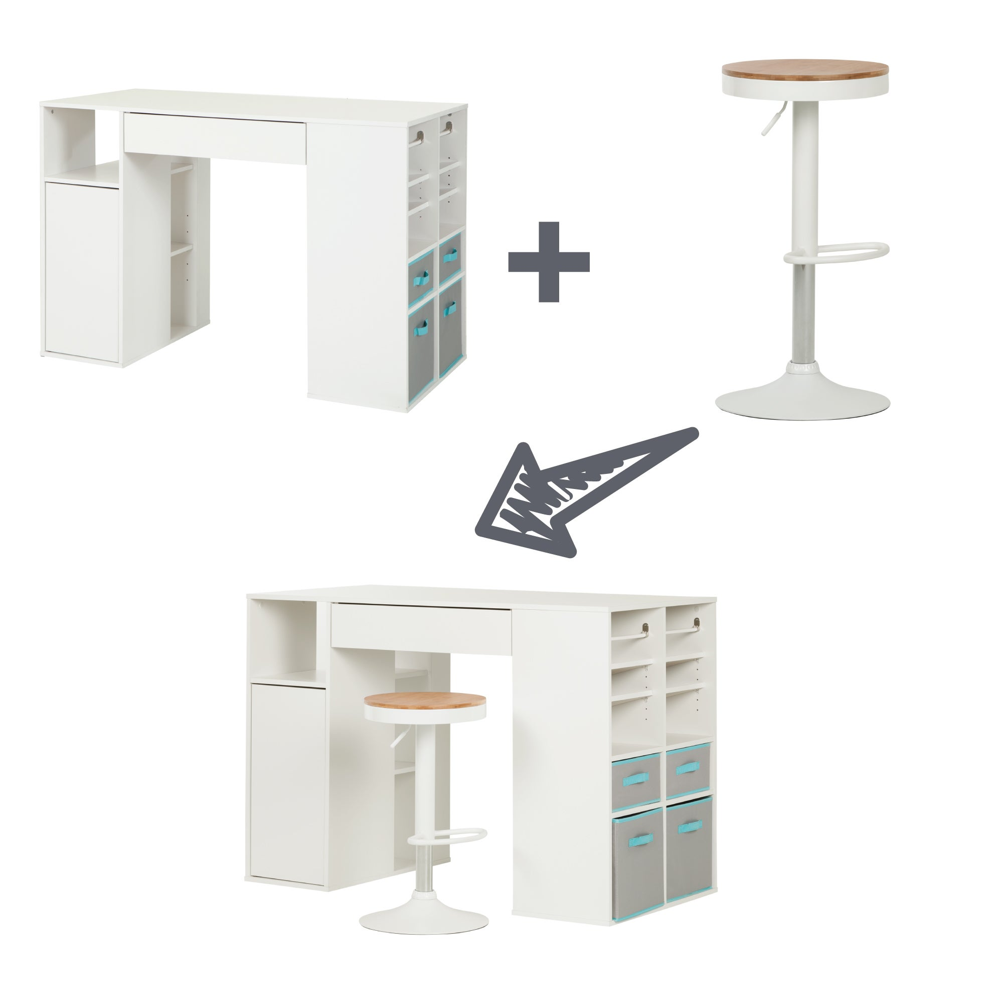 Shop South Shore Furniture Crea Pure White Counter Height Craft Sewing Table  And Stool Set   Free Shipping Today   Overstock.com   13326656