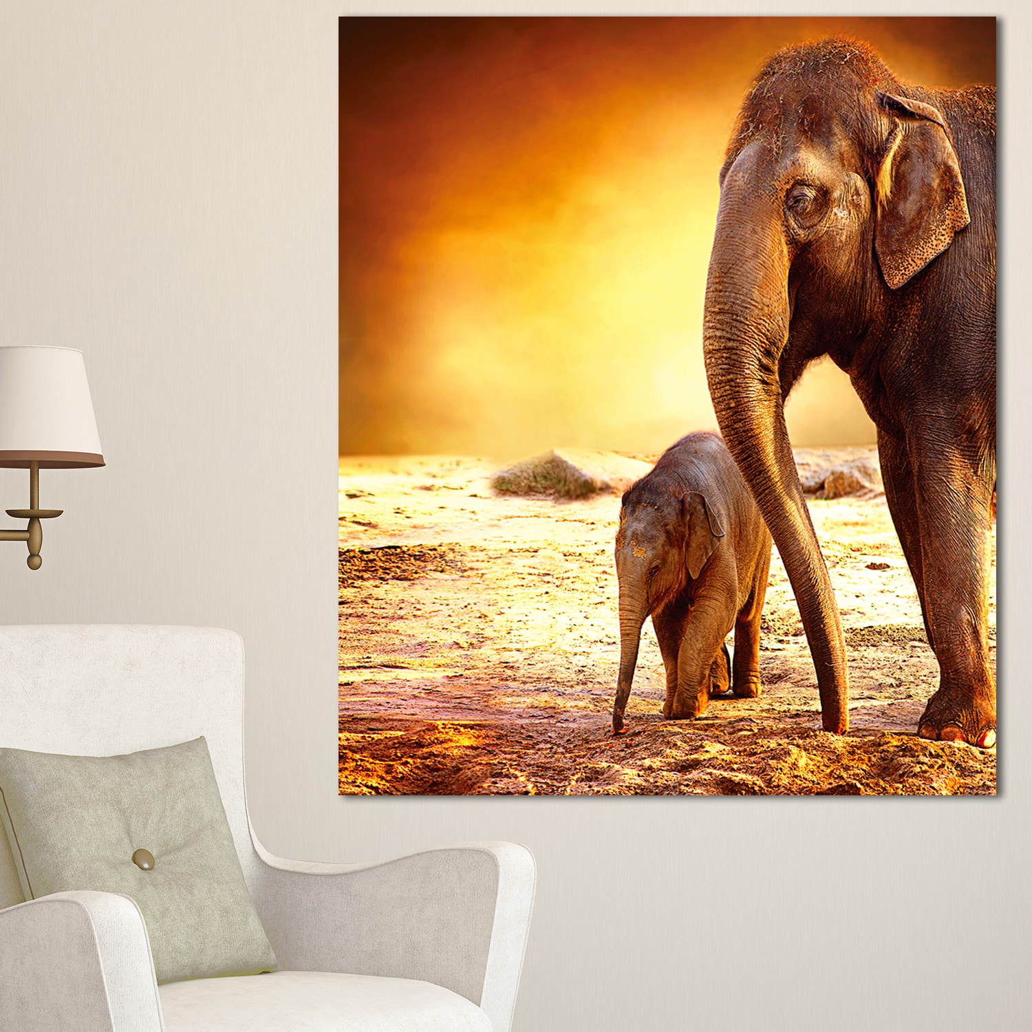 Designart \'Elephant Mother and Baby Outdoors\' African Canvas Artwork ...