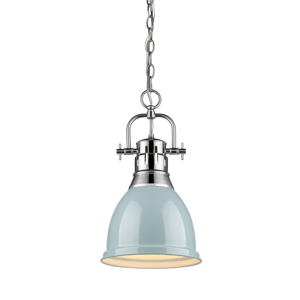 Golden Lighting Duncan Chrome Finished Steel Small Pendant Light Fixture With Chain And Seafoam Metal Shade