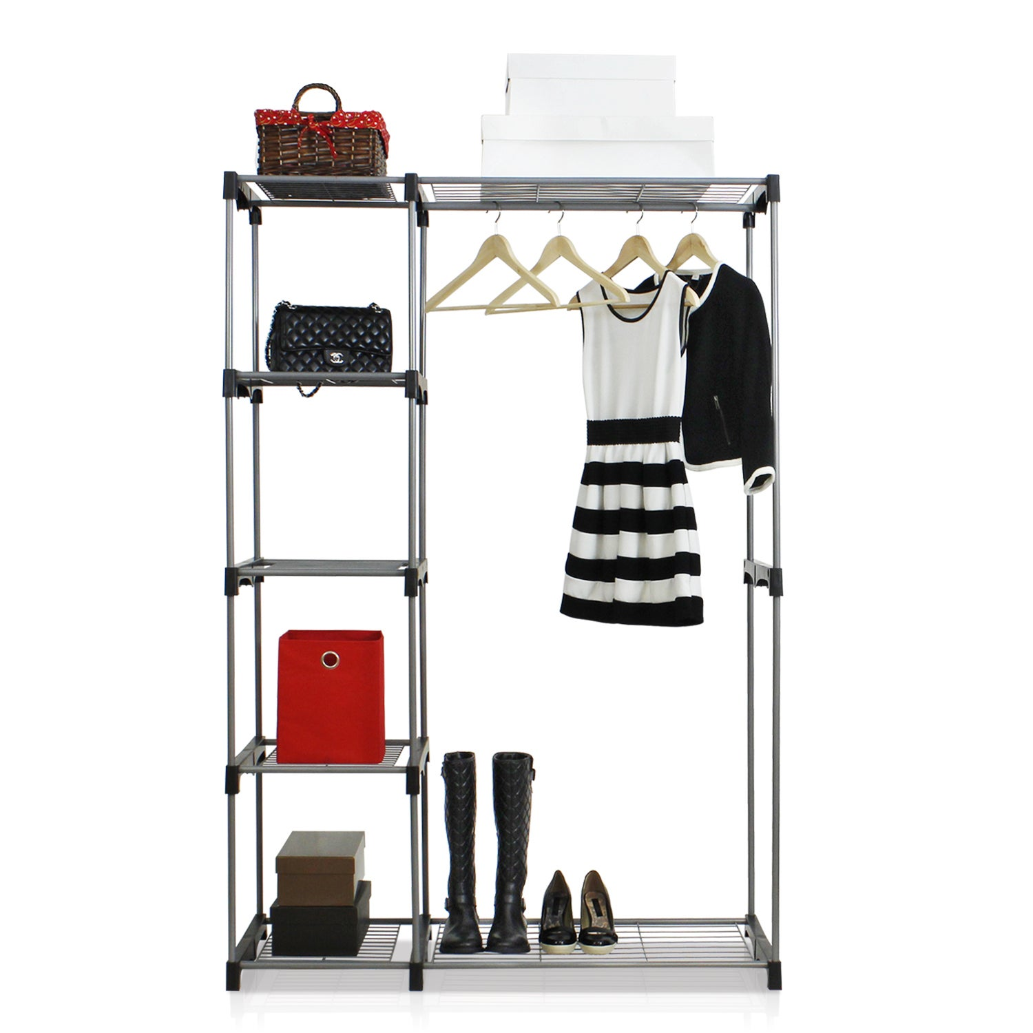 Shop Furinno Wayar Grey Metal Freestanding Double Rod Closet   Free  Shipping Today   Overstock.com   13328568