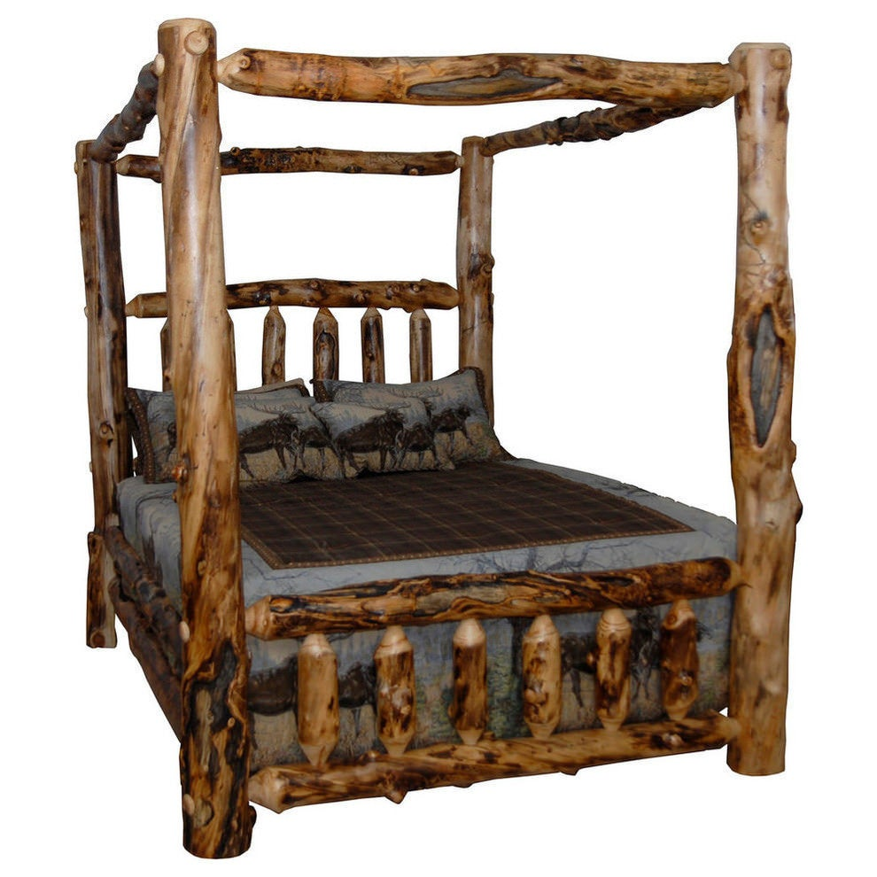 Shop Rustic Aspen Log Canopy Bed Free Shipping Today Overstock
