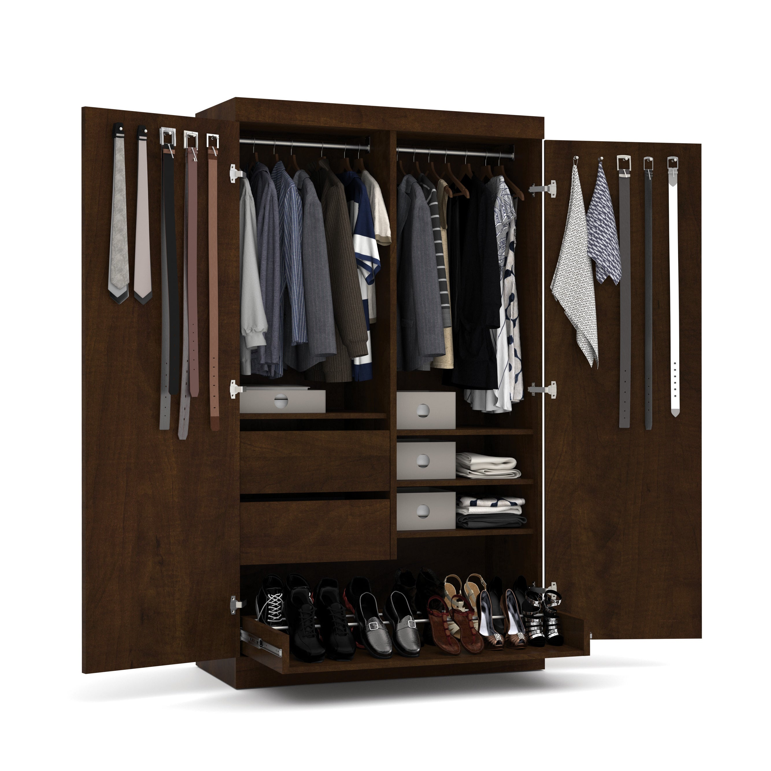 Shop Pur By Bestar 2 Door Armoire With Pullout Shoe Rack   Free Shipping  Today   Overstock.com   13330805