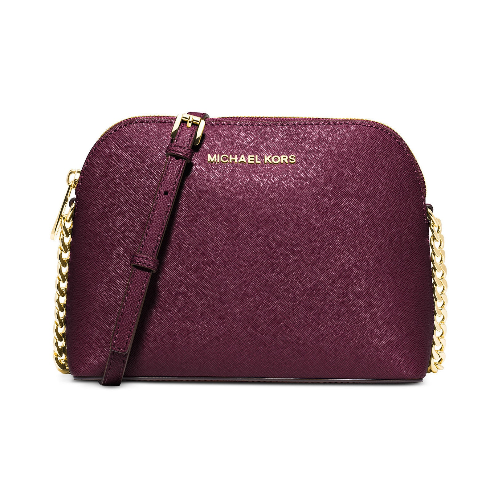 ae8d6ed3a8e1 Shop Michael Kors Cindy Plum Leather Large Dome Crossbody Bag - Free  Shipping Today - Overstock - 13330911