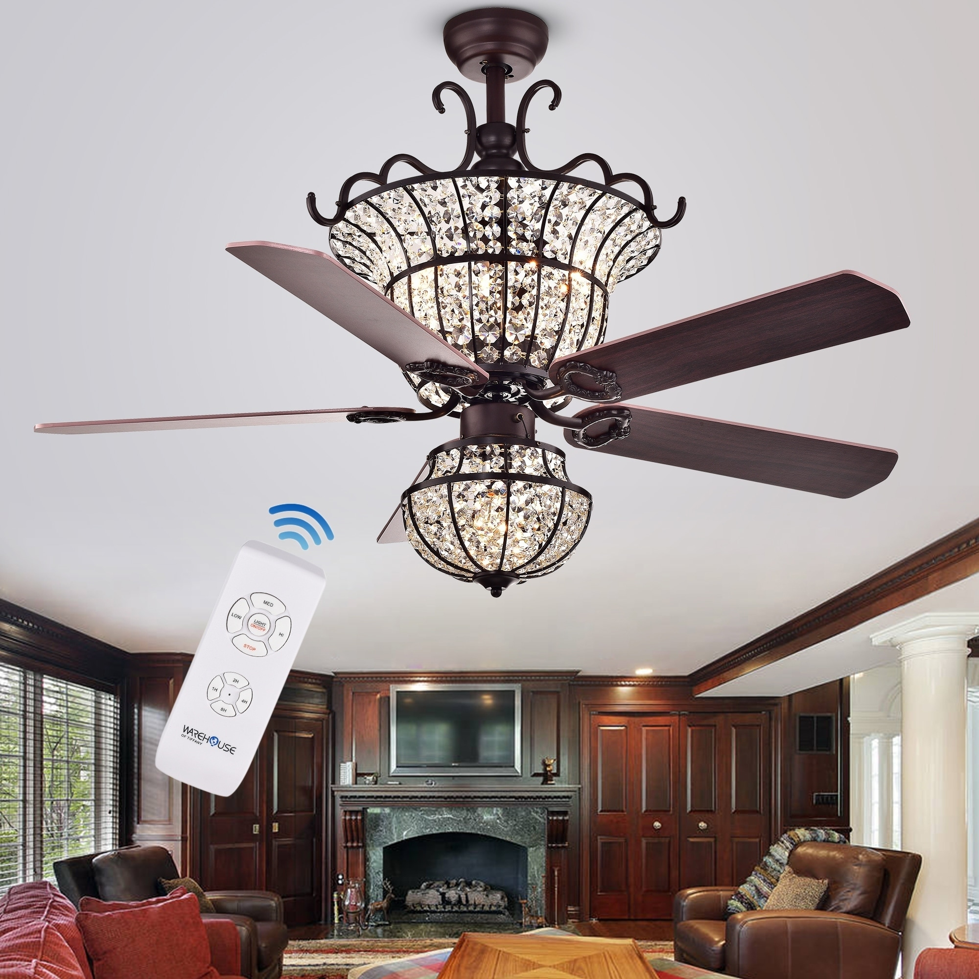 Charla 4 Light Crystal 5 Blade 52 Inch Chandelier Ceiling Fan Optional Remote On Free Shipping Today 13330987