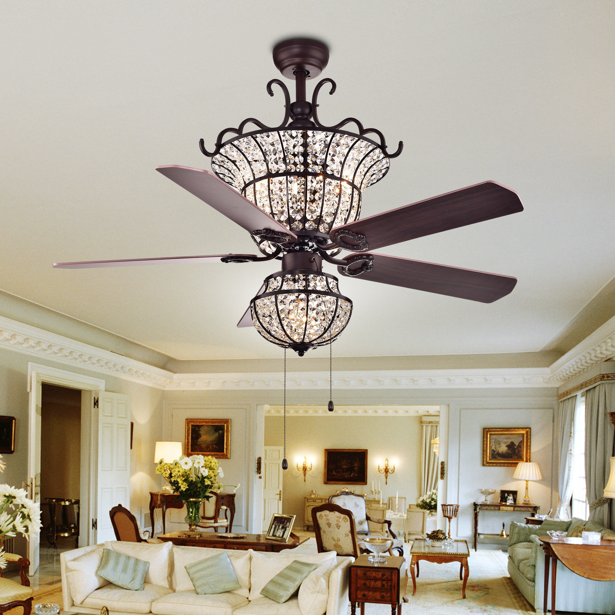 Charla 4 light Crystal 5 blade 52 inch Chandelier Ceiling Fan