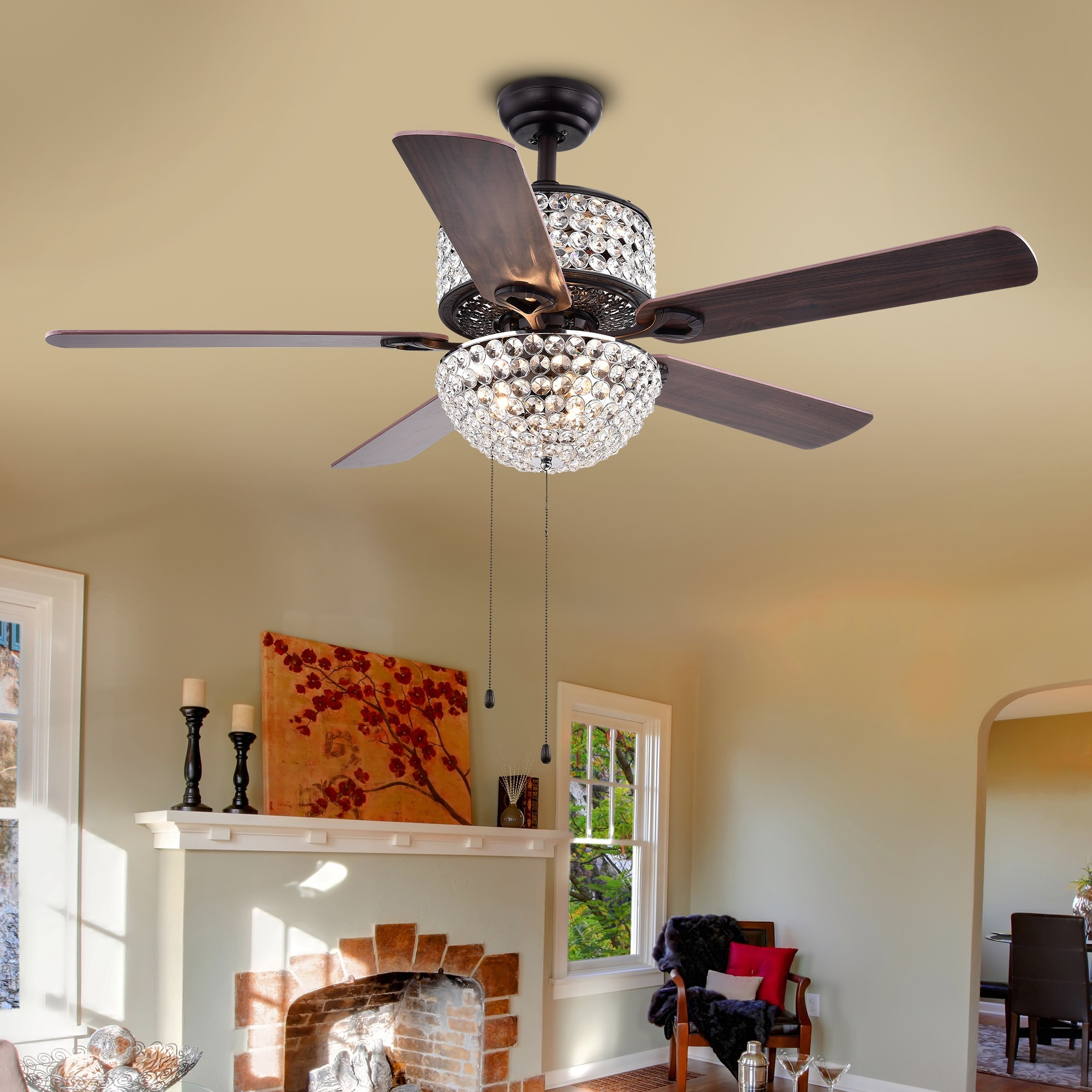 Laure Crystal 6 light Crystal 5 blade 52 inch Ceiling Fan Free